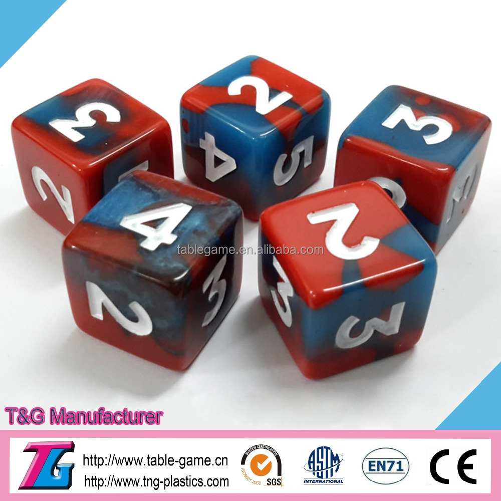 High quality custom game dice with mixing colour effect