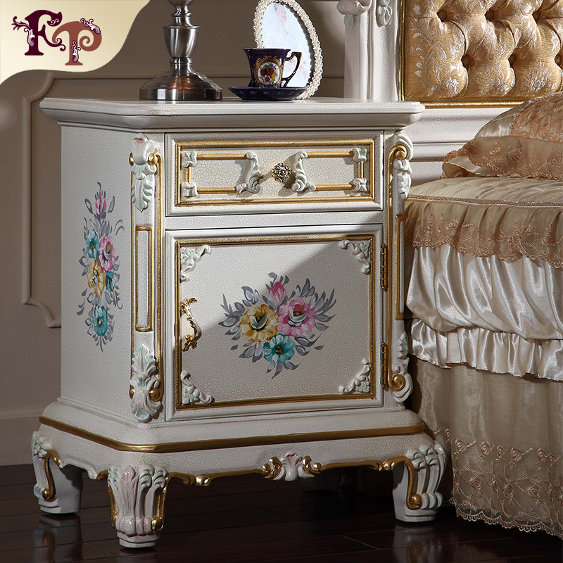 italian furniture reproduction baroque solid wood handcraft bedstand classic bedroom furniture