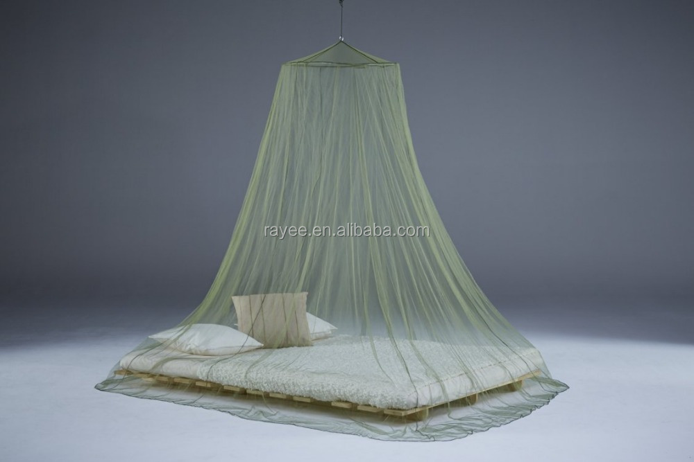 Conical army mosquito net, Green Travel Mosquito Net with Hook and Ring, LLIN