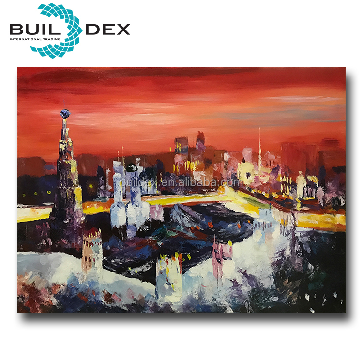 High quality handpainted impressionist city landscape oil painting on canvas for sale
