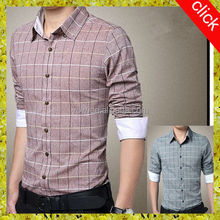2014 new design slim fit men fashion shirts with 100% cotton plaid fabric