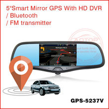 5 Inch auto GPS Navigation with Bluetooth, HD DVR rear mirror with camera