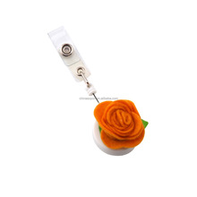 New designer fabric flower retractable yoyo badge reel
