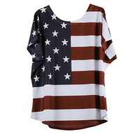2019 Summer--Fashion Plus Size Loose Star Stripe American Flag Printed O-Neck Women T-Shirt Blouse