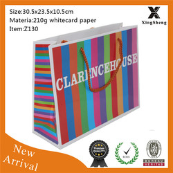 Custom colorful foldable luxury paper shopping bag
