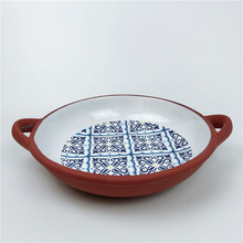 Dehua Ceramic Kitchenware Blue Decal Terracotta Round <strong>Plate</strong> with Handles
