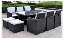 Wholesale Rectangular Classic Rattan Dinner Table Set Outdoor Furniture