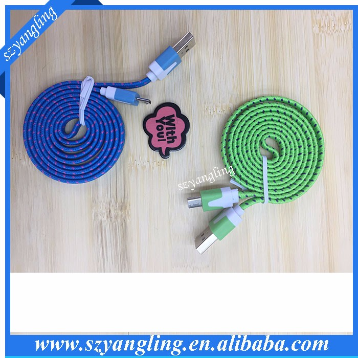 3 Meter Braided Wire noodle flat Micro USB Cable 3M Sync Woven V8 Charger Nylon cable for Samsung for Blackberry