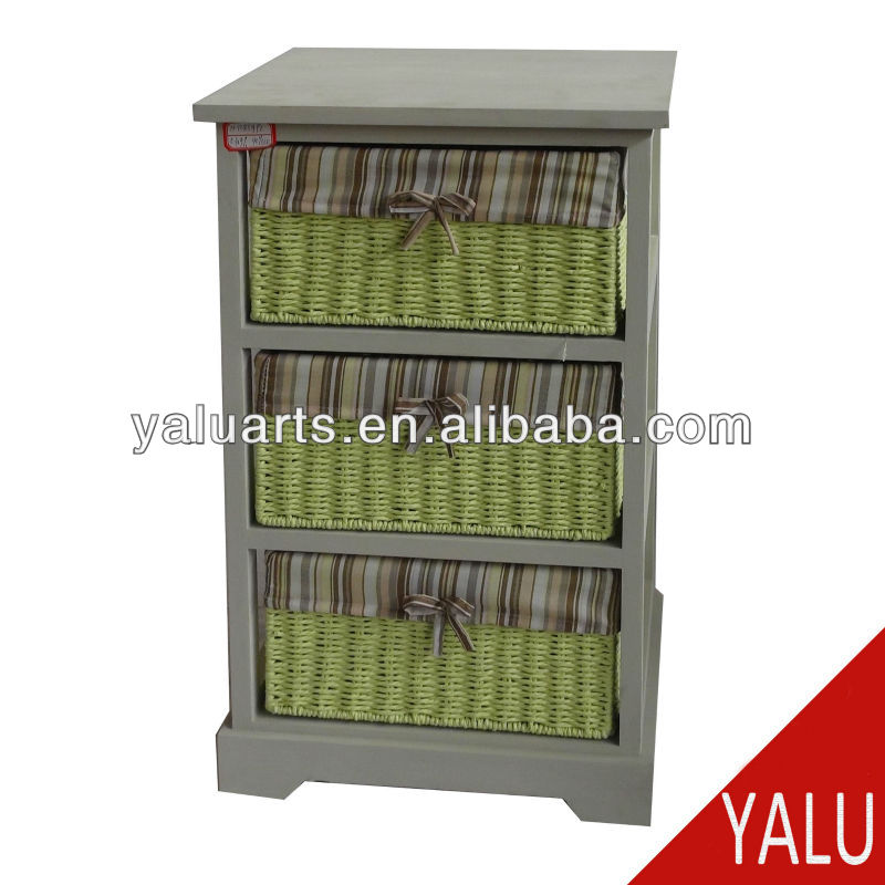 wood shelf in wash color with paper rope drawers with stripe liner wooden cabinet