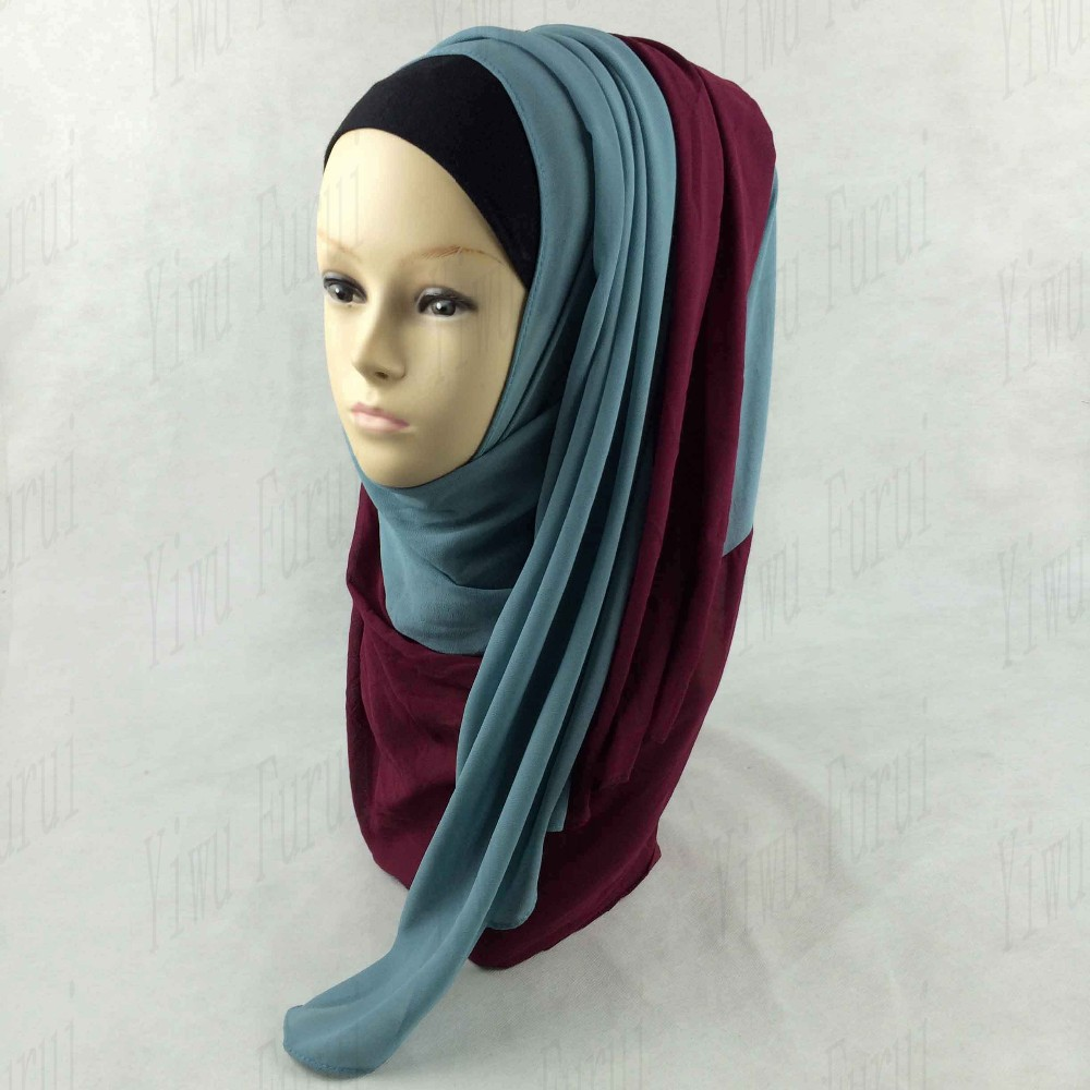 Two-tone chiffon stylish muslim hijabs wholesale malaysia hijab scarves