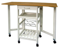 New Design folding pvc top and pine frame kitchen trolley with wine rack and wheels