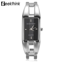 Top Fashion Rectangle Ladies Dress Bracelet Watch Alloy Simple Quartz Female Clock Geekthink Brand Luxury Women Bangle Watch Hot