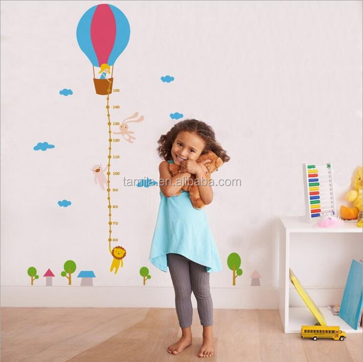 Hot Air Balloon Height Measurement Growth Chart removable Wall Sticker