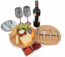 Round bamboo cheese serving board cheese slicer set