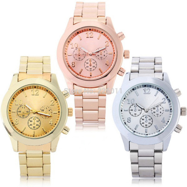 1pcs Trustworthy 3Colors Quartz Watch Men Women Faux Chronograph Plated Geneva Clock Relogio Metal Men's Watches