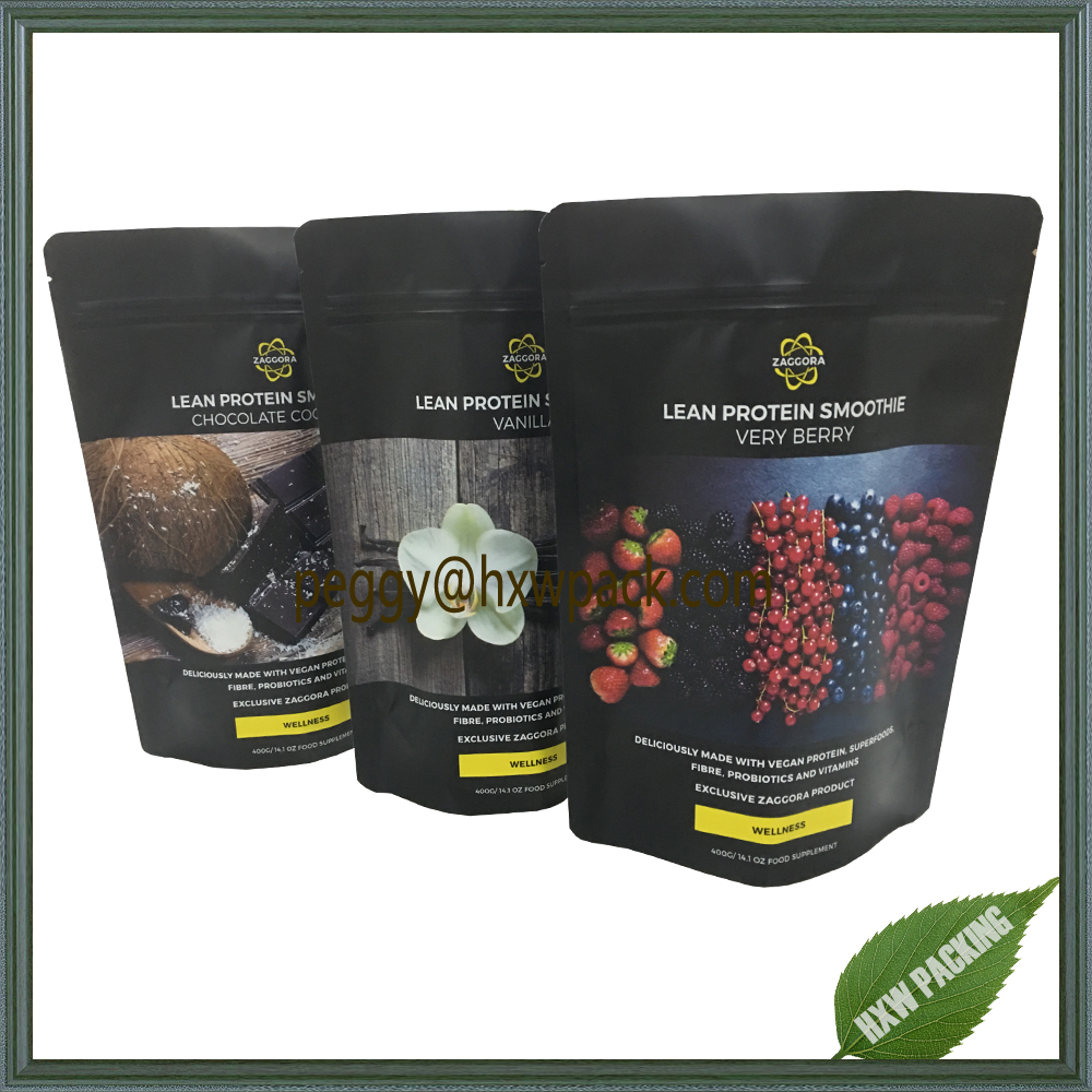 Vivid printing standing printed food pouches ,plastic 400g food powder package bags