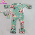 Baby names image cotton romper garment icing onesie long leg floral baby triple ruffle icing long sleeve bodysuits match bonnet