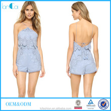 2016 new style blue or customize voile fabric with lining strapless sleeve womens playsuits LC6090-A