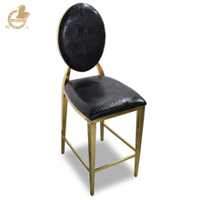 Upholstered western golden stainless steel bar stool