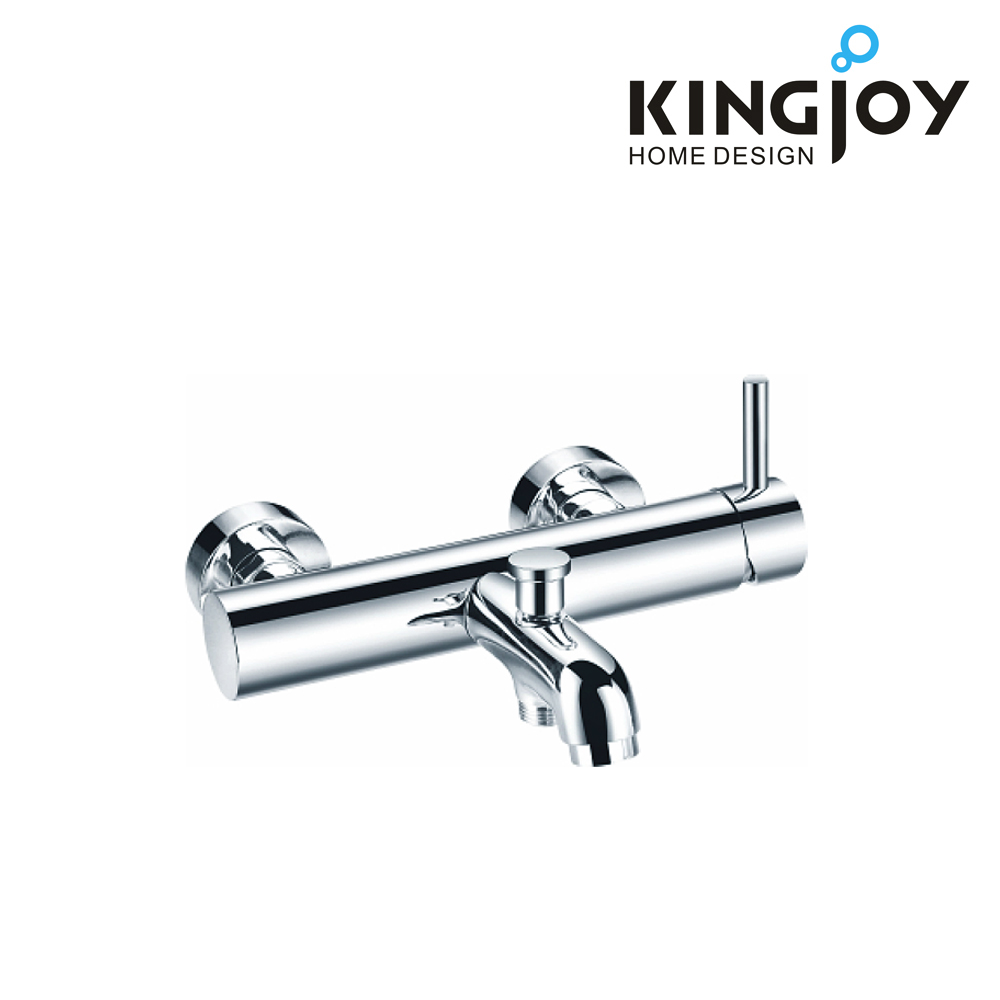 Contemporary brass single lever bath and shower faucet wall mounted