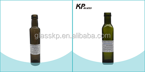 250ml small antique green olive oil bottle shaped for pep cap