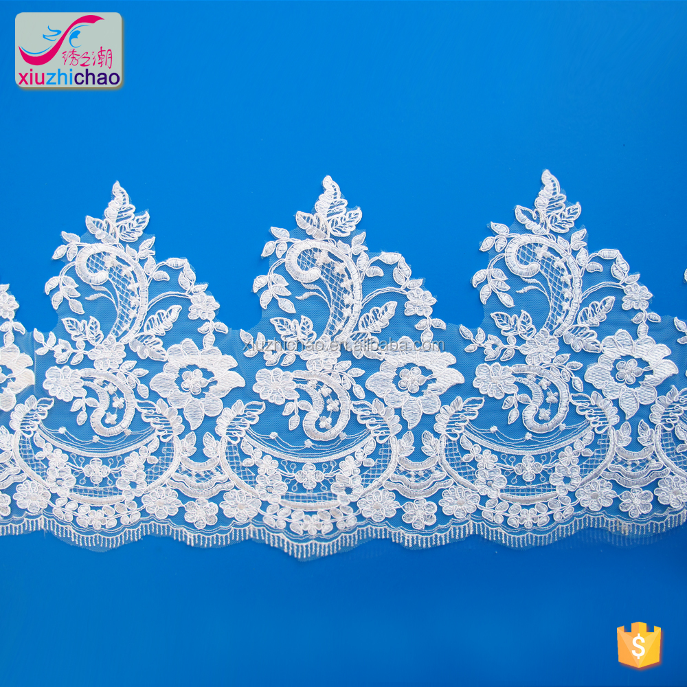 T0173 Ivory Polyester Mesh Bridal Lace Trim White Embroidered Guipure Lace For Wedding Dress net trim