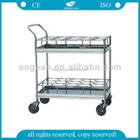 AG-SS021A CE approved 24 bottles medical steel bottle carriage trolley