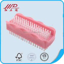 Double-side pink nail cleaning brush, fashionable plastic nail dust brush