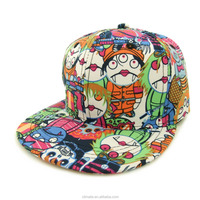 newest polyester printing hip-hop caps and hats for cartoon graffiti