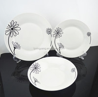 18pcs PORCELAIN dinner set exported to IRAN with black color flower