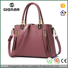 Gionar Cheap Real Plain Leather Handbags Womens Discount Nice Tote Handbag For Women