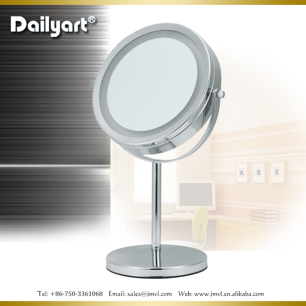 7 Inch Double-sided Battery-operated Polished Chrome Finish Vanity Tabletop Lighted Led Cosmetic ...