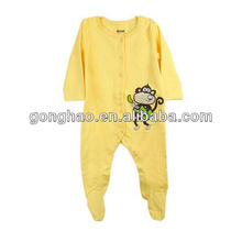 100% cotton jersey baby romper with foot with cute embroidery
