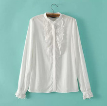 MS51602W new collection ruffle neck ladies white chiffon blouse