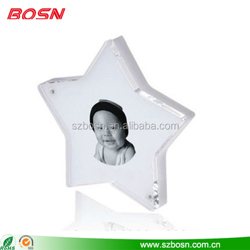 Small cute star shaped acrylic photo frame plexiglass magnetic picture display