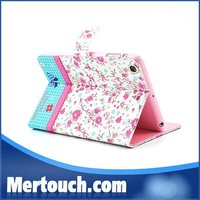 Flower diamond Book style case for iPad mini case Ultra thin pu leather case for iPad mini protector