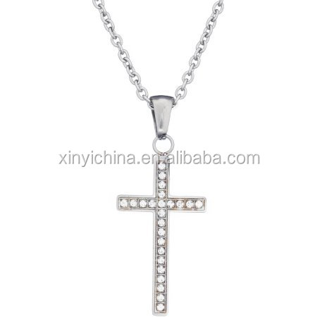2017 American Steel CZ Stainless Steel Cross Religious Pendant