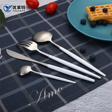 Wedding Flatware Stainless Steel Cutlery Set With White Handle
