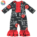 Hot Fashion valentine's day baby girl ruffle rompers Love and Hot Lips Prints Toddlers Girl Rompers Boutique Baby Romper Clothes