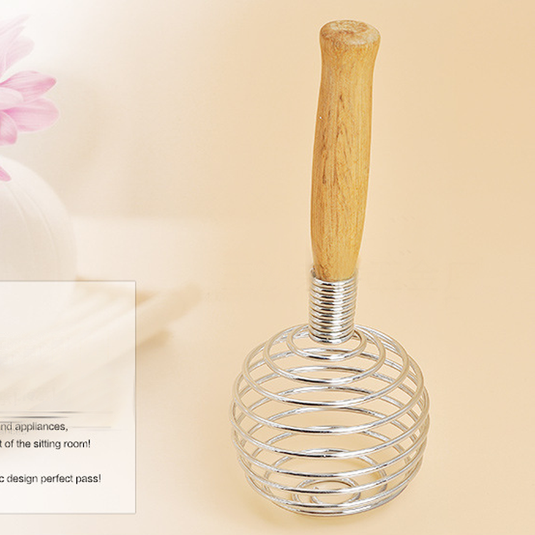 19X7CM wood handle stainless steel top egg whisk egg beater