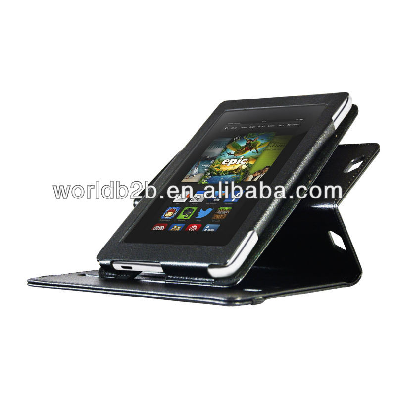 Dual-View 360 degree roate Leather Folio Cover Rotating Case for new New Kindle Fire HD 7 with stylus