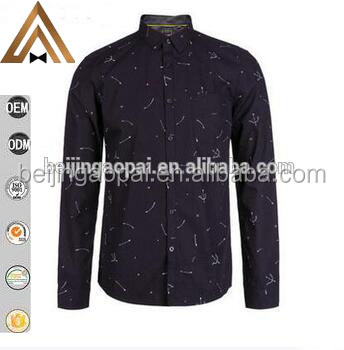 Professional Non-iron organic cotton wholesale printing men casual shirt