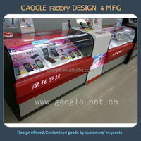 design MDF mobile phone display cabinet with LED light