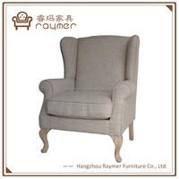 Raymer Comfortable Velvet Fabric Antique Wing Back Club Chairs