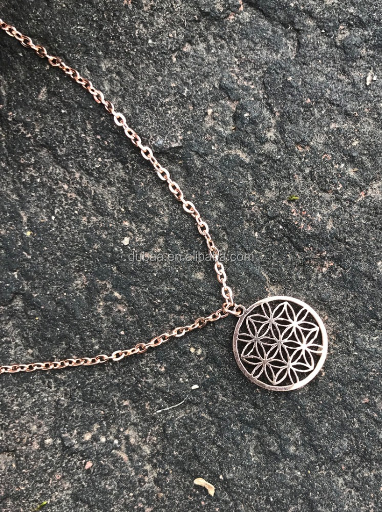 New Hot Fashion Stainless Steel Flower Seed of Life Lucky Pendant Chain Necklace Gold Plating Energy Necklace