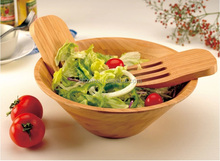 Wholesale Bamboo Salad Bowl w/ Serving Hands High Quality Custom Bamboo Bowls Factory Price Bamboo Wood Salad Set