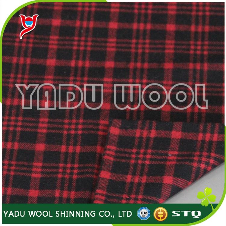 2017 wholesale high quality best sale tartan and Plaid black and red fabric late Fall thermal fabric