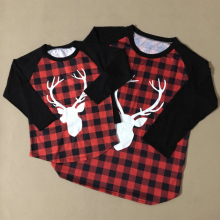 grid deer elk printing custom t-shirt mommy and me t shirts t shirt wholesale china