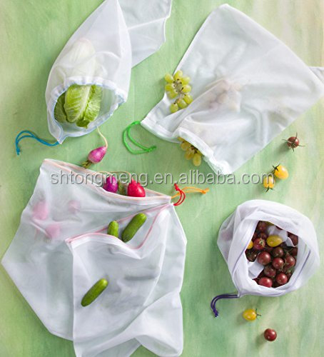 Set of 5 Strong Washable Fine Mesh Reusable Produce Bags - Fit for Shopping and Storage(Z-CMT-021)
