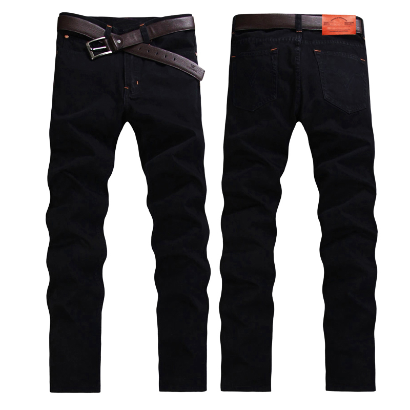 Black men's jeans men's fashion jeans cotton straight Slim trousers